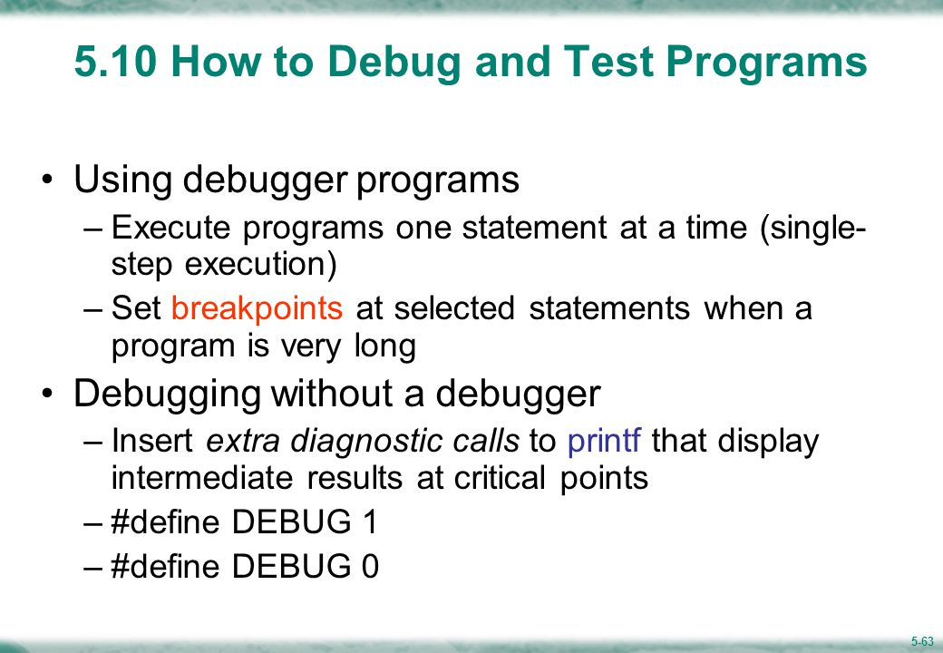 Example: debug using printf