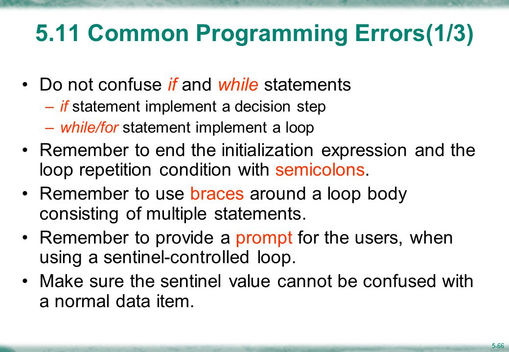 Common Programming Errors (2/3)