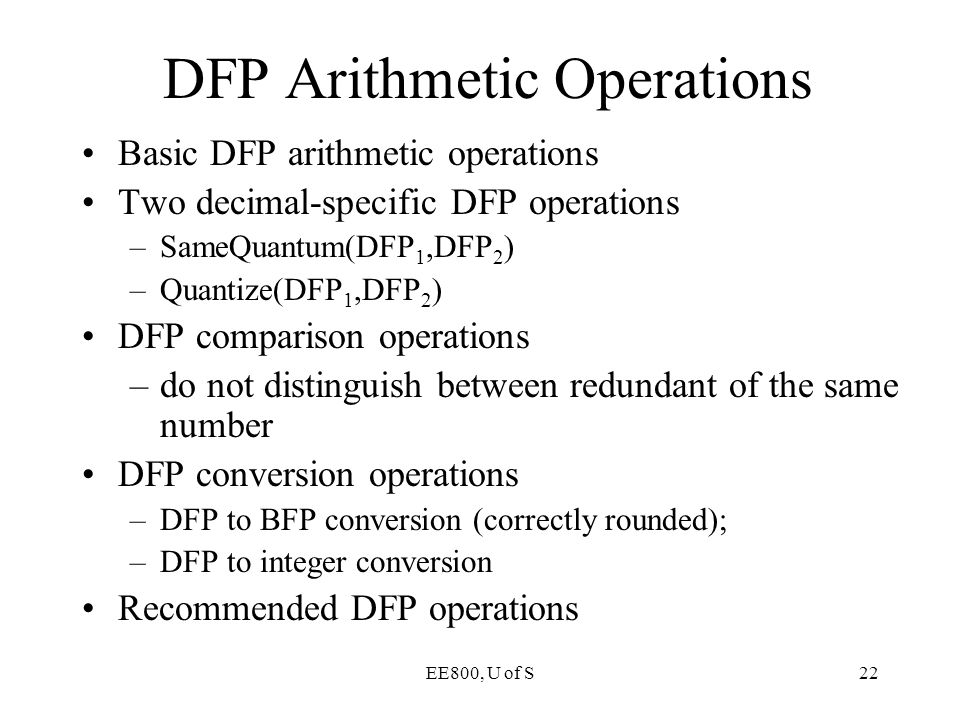 DFP Arithmetic Operations