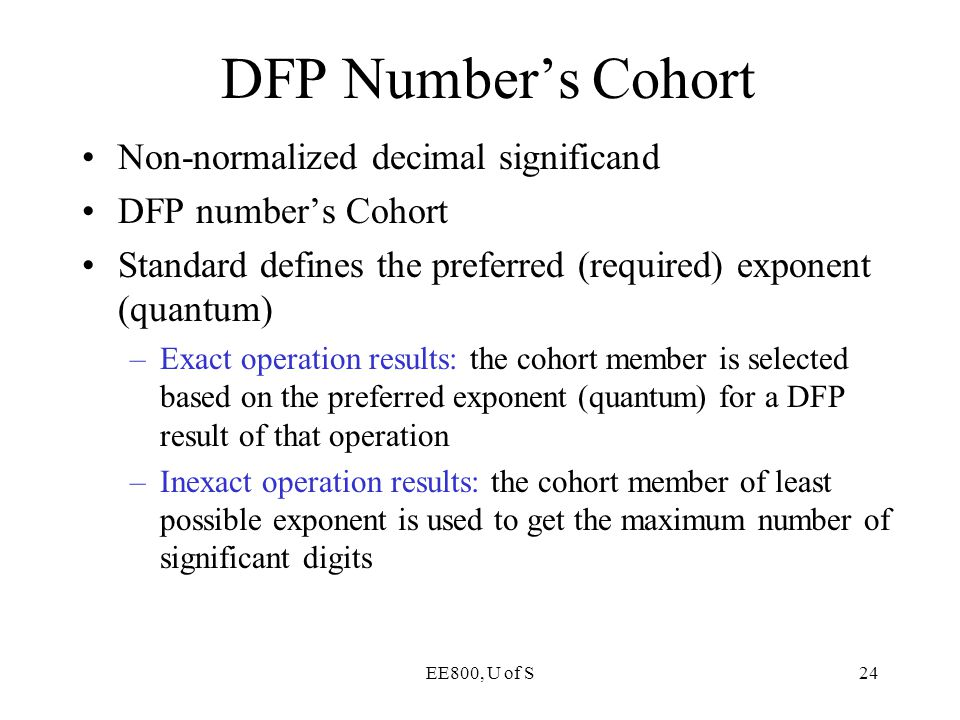 DFP Number's Cohort Non-normalized decimal significand