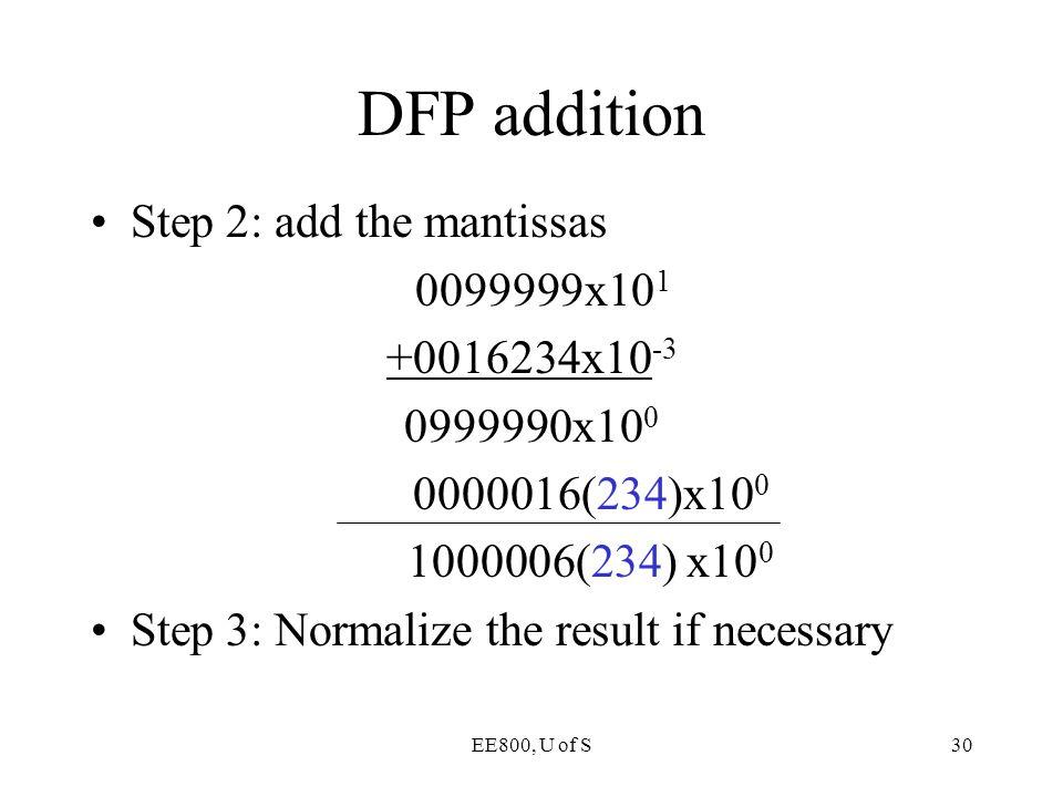 DFP addition Step 2: add the mantissas 0099999x101 +0016234x10-3