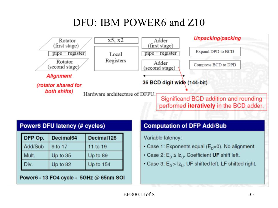 DFU: IBM POWER6 and Z10 EE800, U of S