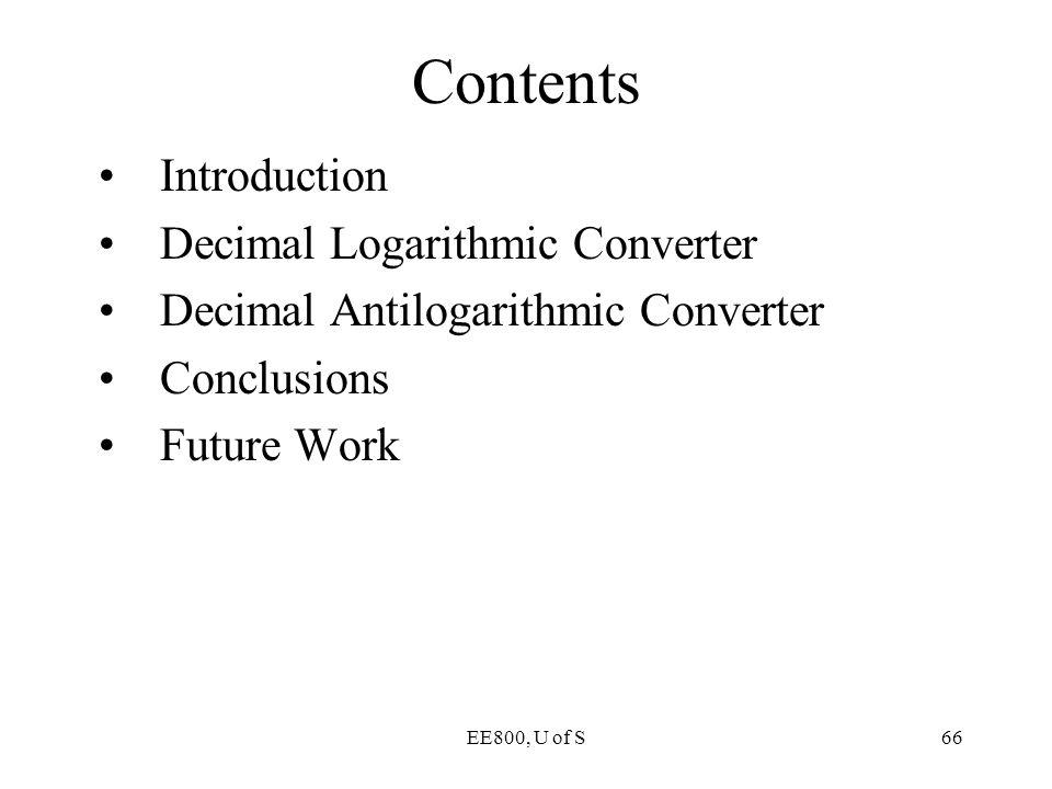 Contents Introduction Decimal Logarithmic Converter