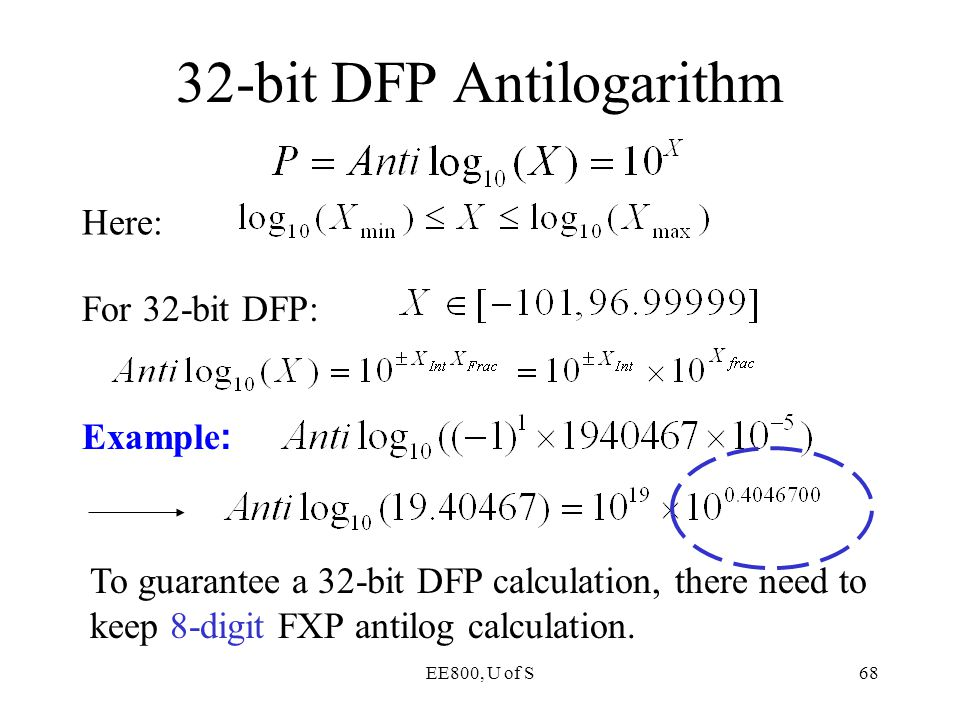 32-bit DFP Antilogarithm