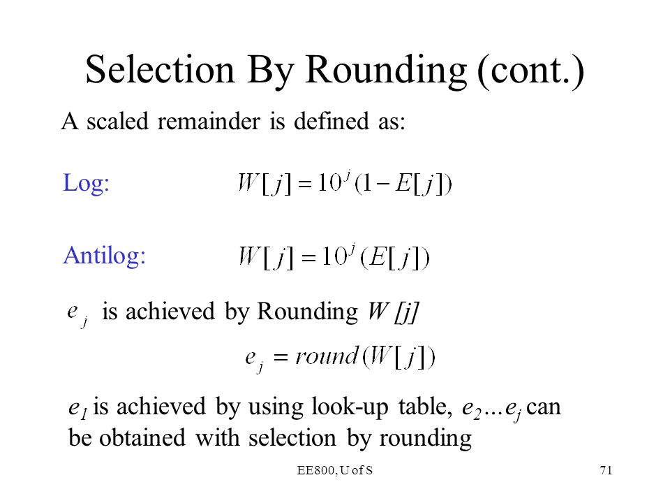 Selection By Rounding (cont.)