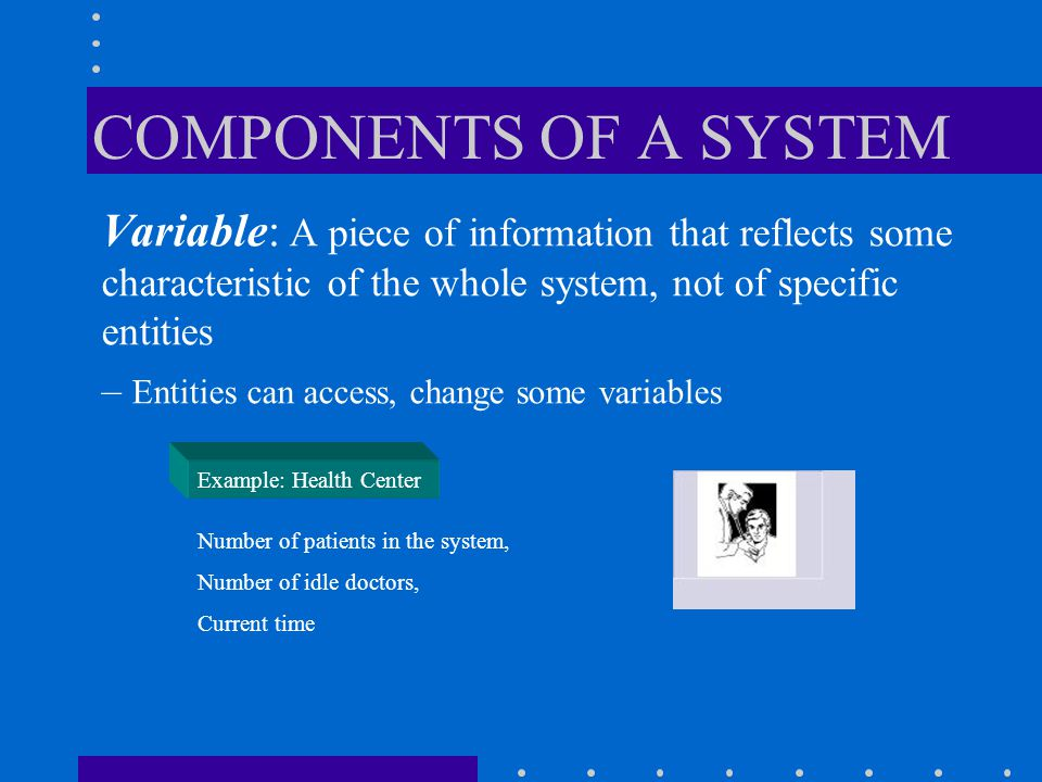 COMPONENTS OF A SYSTEM Variable: A piece of information that reflects some characteristic of the whole system, not of specific entities.