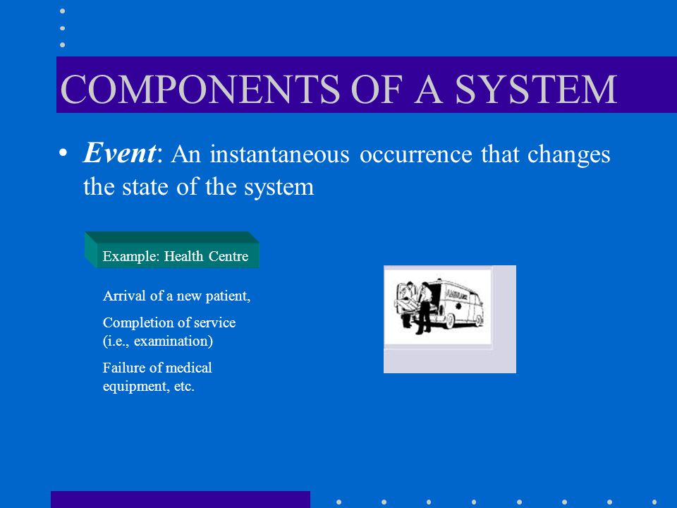 COMPONENTS OF A SYSTEM Event: An instantaneous occurrence that changes the state of the system. Example: Health Centre.