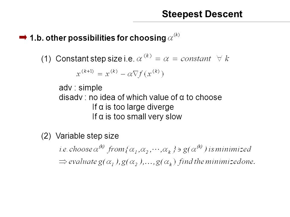 Steepest Descent 1.b. other possibilities for choosing