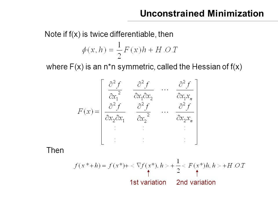 Unconstrained Minimization