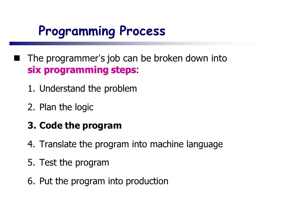 Programming Process The programmer's job can be broken down into six programming steps: Understand the problem.