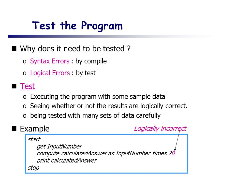 Test the Program Why does it need to be tested Test Example