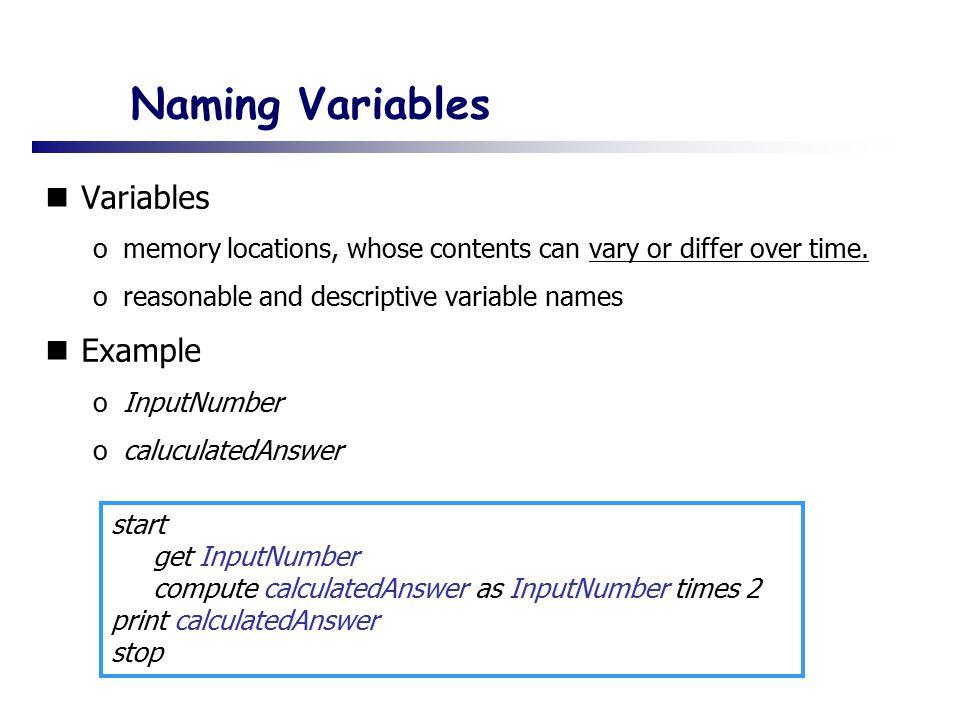Naming Variables Variables Example