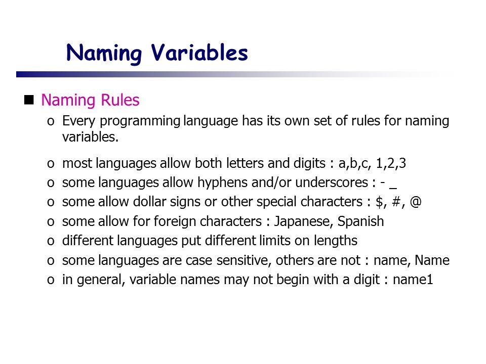 Naming Variables Naming Rules