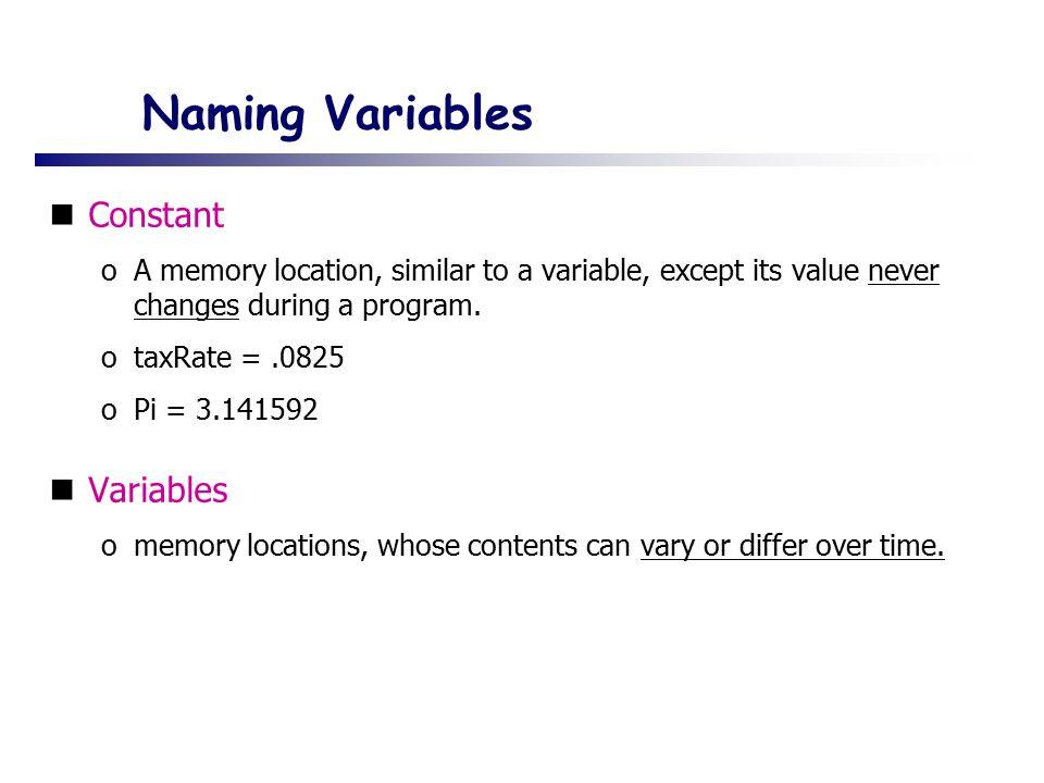 Naming Variables Constant Variables