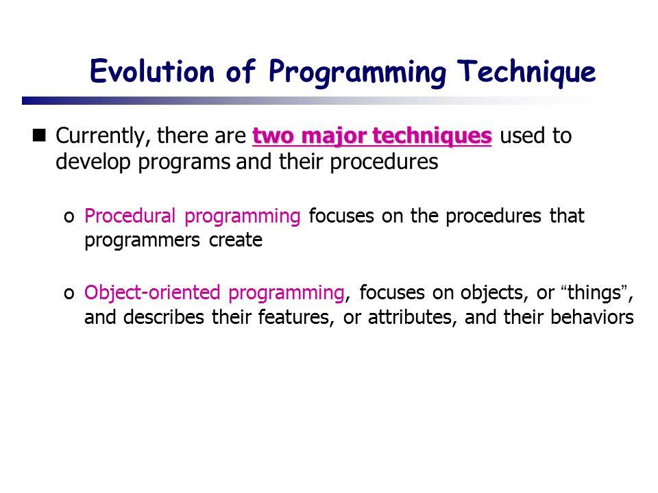 Evolution of Programming Technique