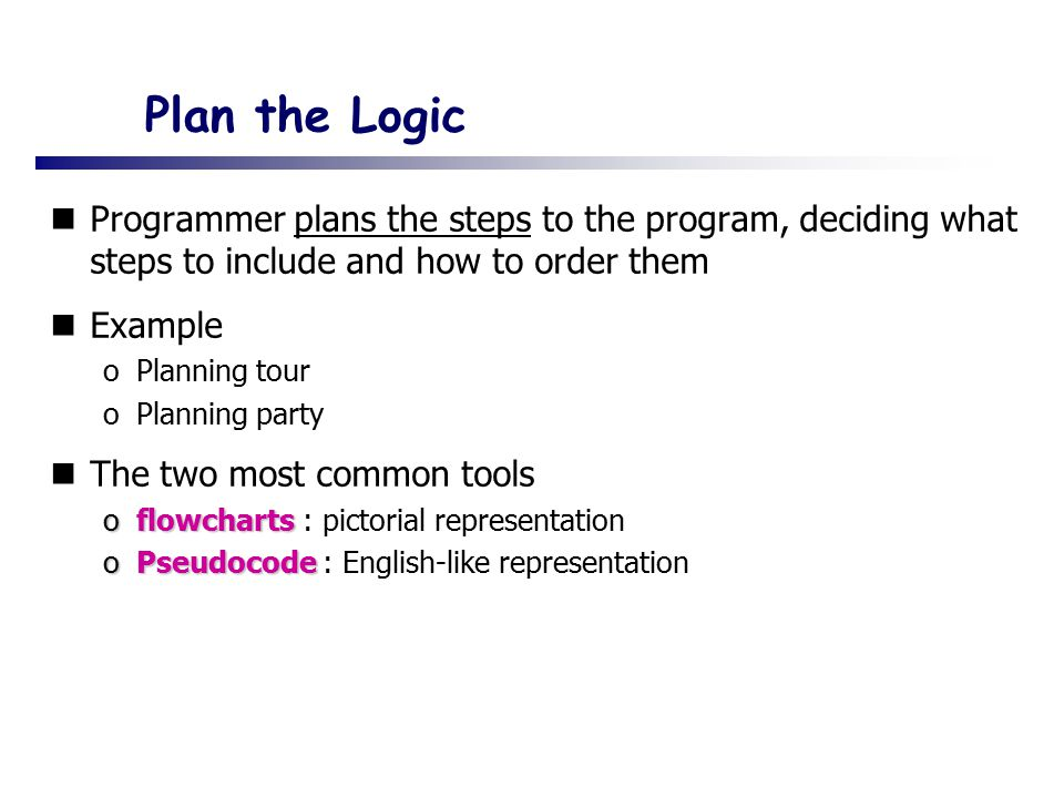 Plan the Logic Programmer plans the steps to the program, deciding what steps to include and how to order them.