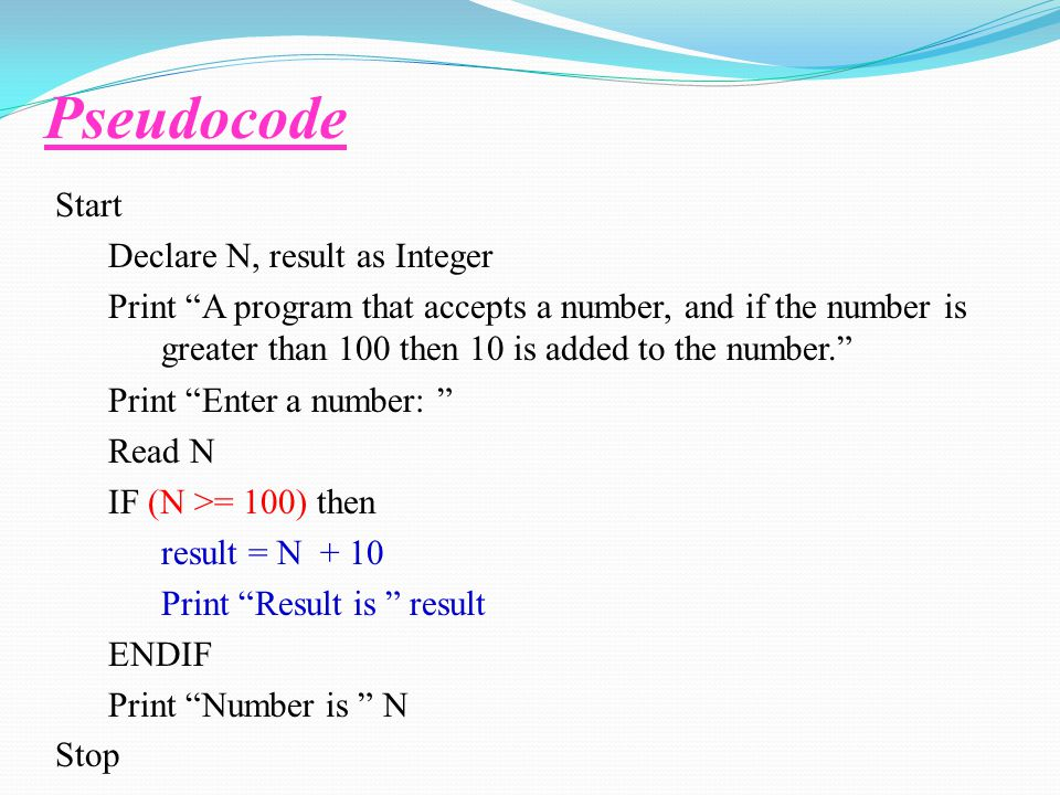 Pseudocode Start Declare N, result as Integer