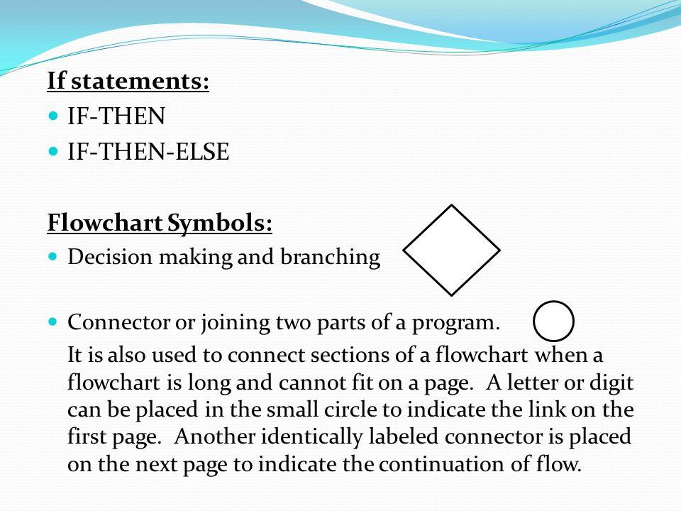 If statements: IF-THEN IF-THEN-ELSE Flowchart Symbols: