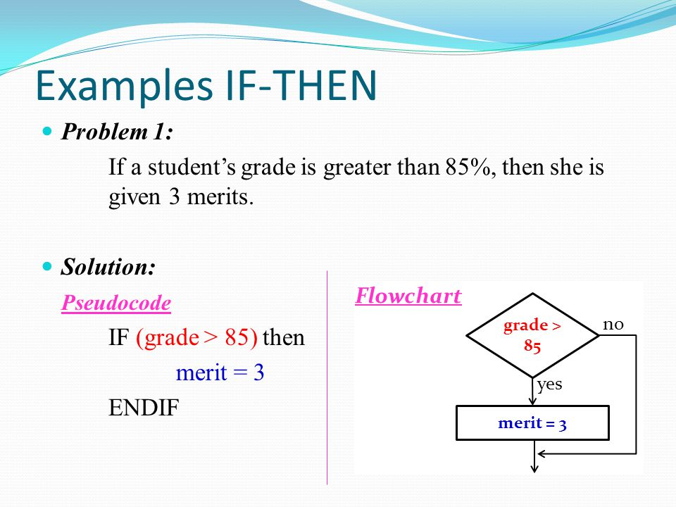 Examples IF-THEN Problem 1: