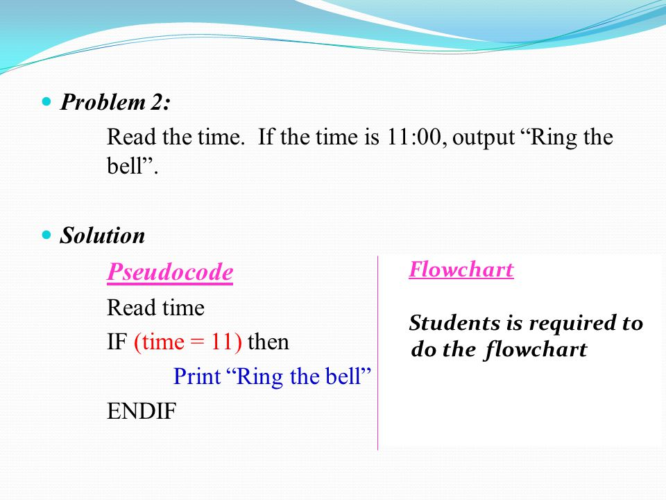 Problem 2: Read the time. If the time is 11:00, output Ring the bell . Solution. Pseudocode. Read time.