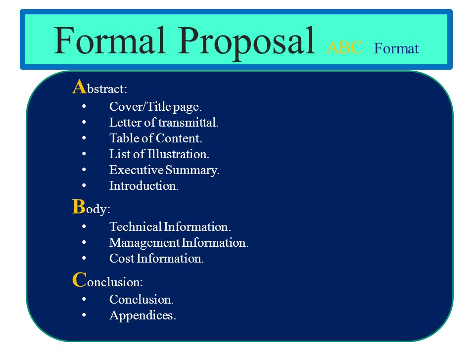 Formal Proposal ABC Format