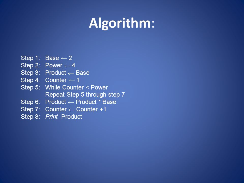 Algorithm: Step 1: Base  2 Step 2: Power  4 Step 3: Product  Base