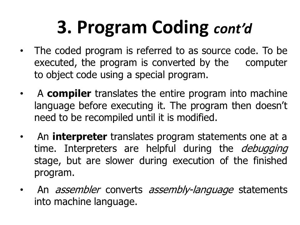 3. Program Coding cont'd