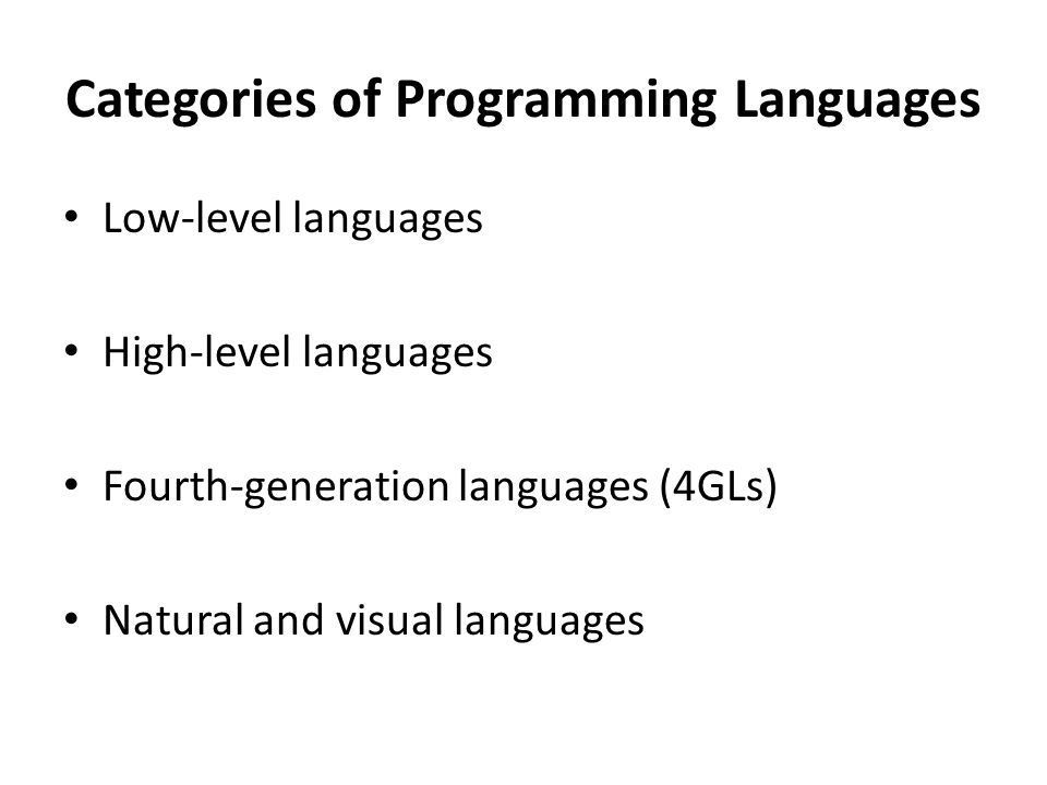 Categories of Programming Languages