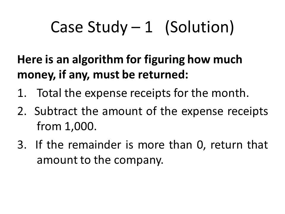 Case Study – 1 (Solution)