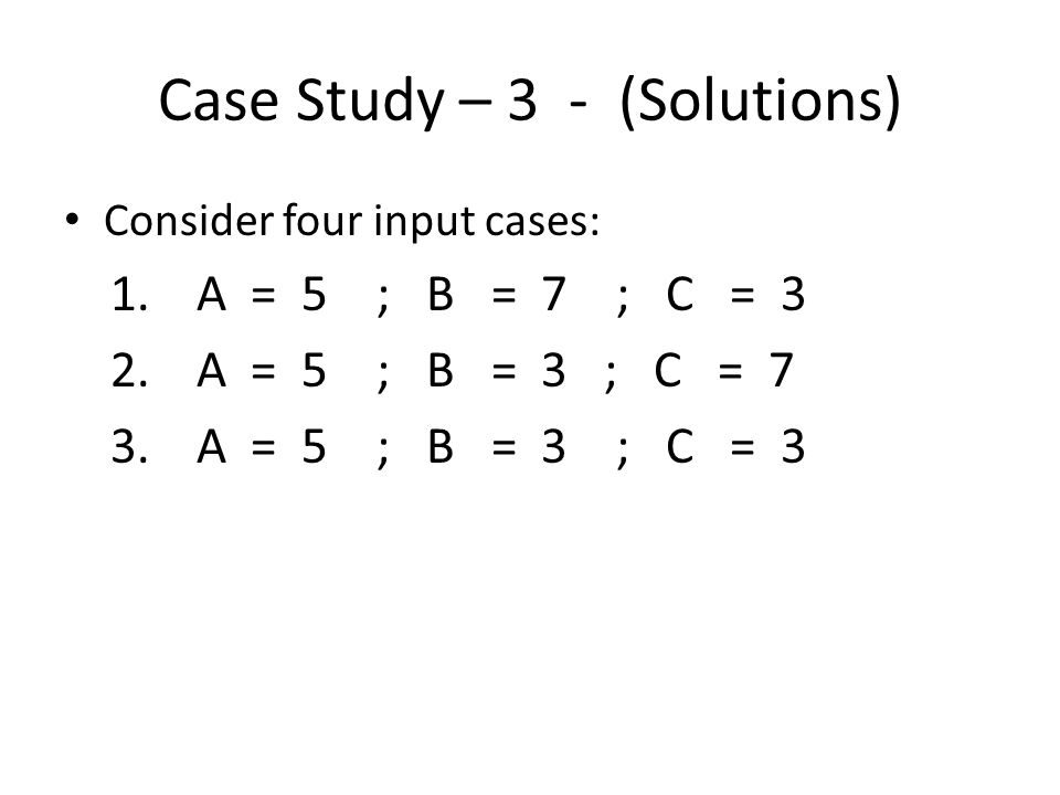 Case Study – 3 - (Solutions)