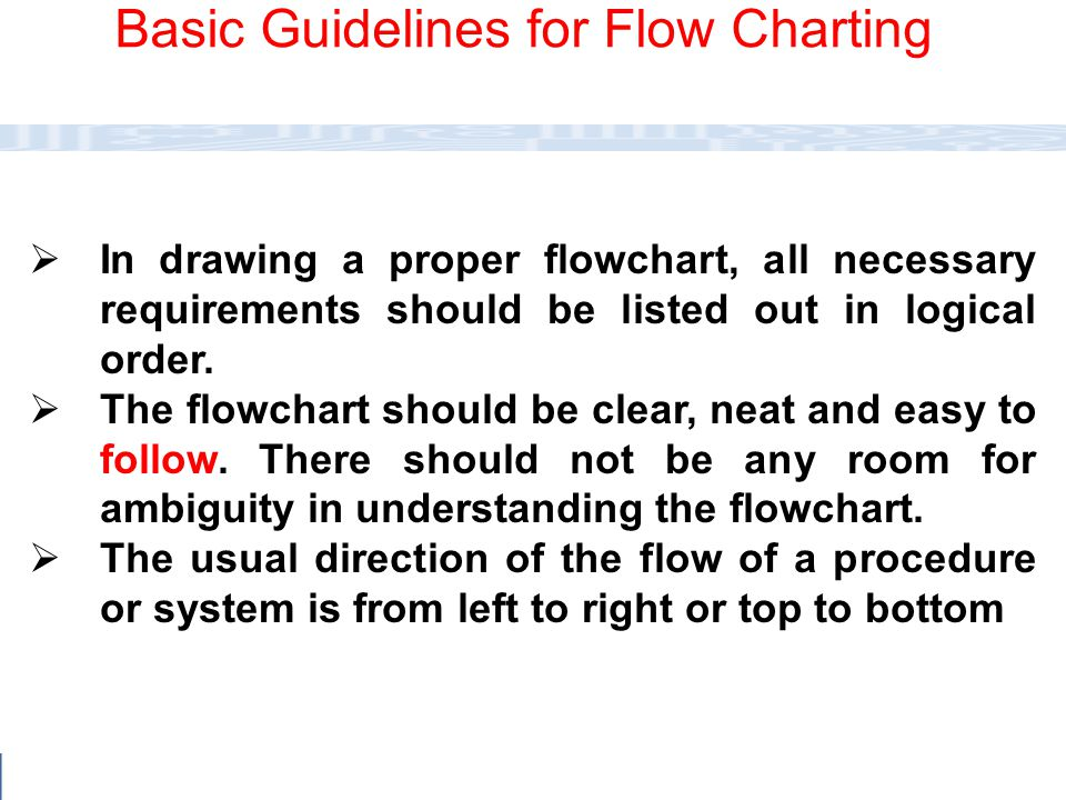 Basic Guidelines for Flow Charting