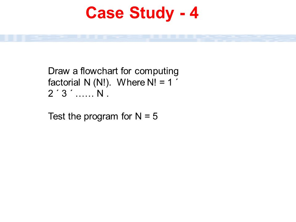 Case Study - 4 Draw a flowchart for computing factorial N (N!).