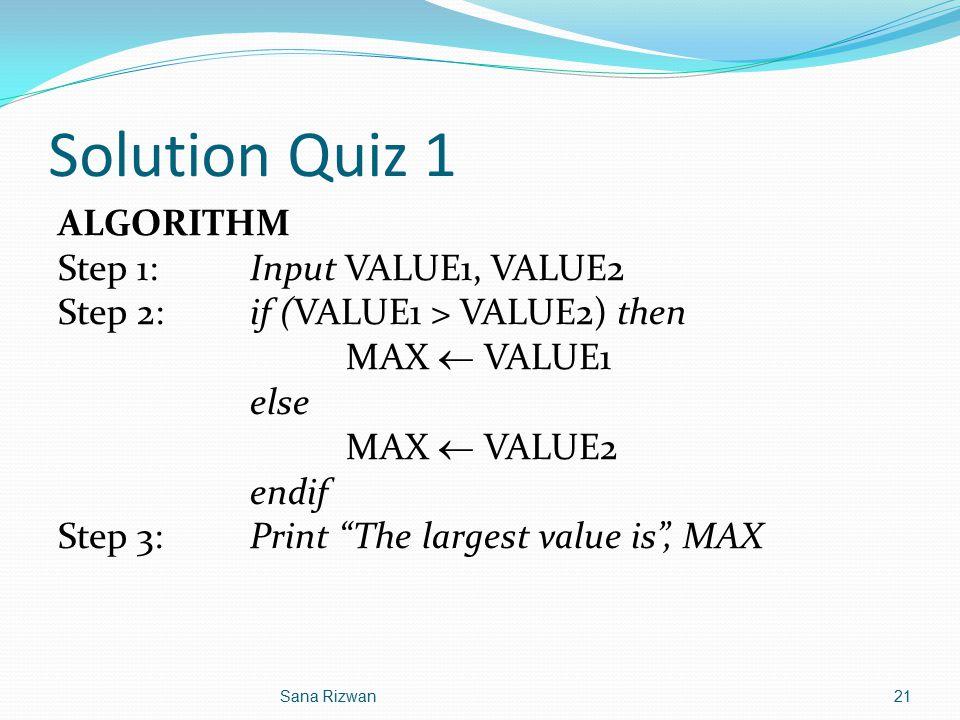 Solution Quiz 1