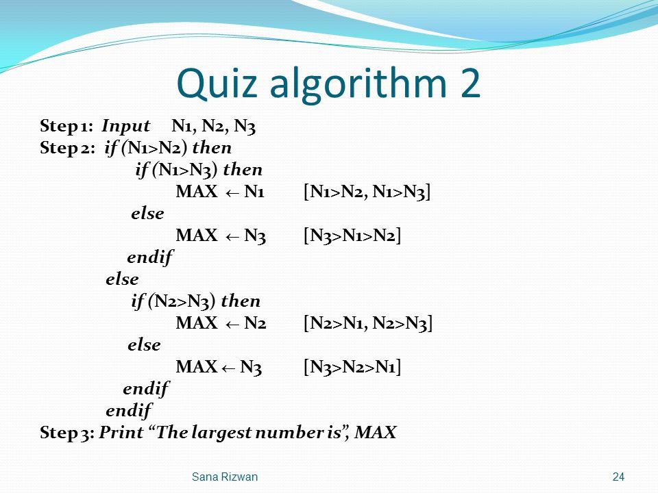 Quiz algorithm 2