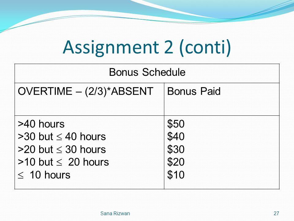 Assignment 2 (conti) Bonus Schedule OVERTIME – (2/3)*ABSENT Bonus Paid