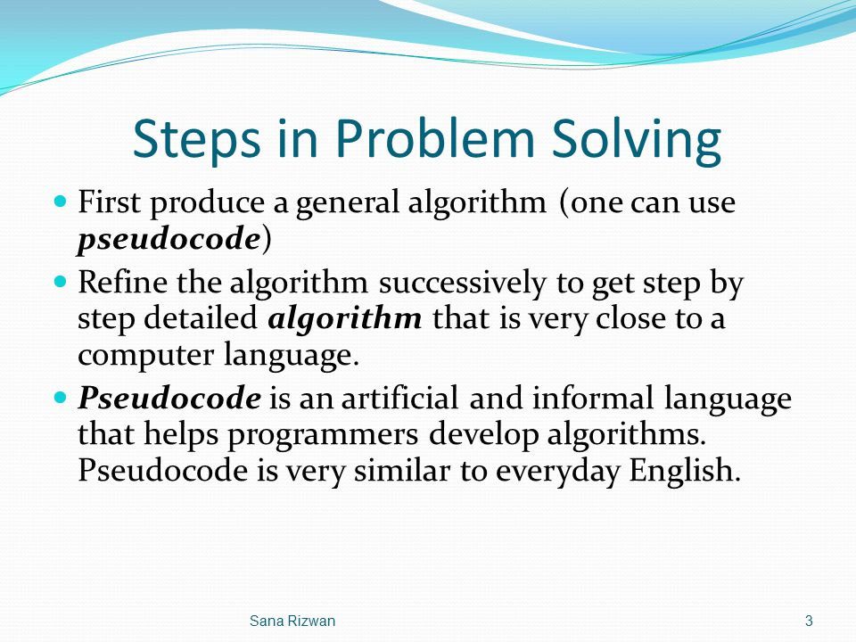 Steps in Problem Solving