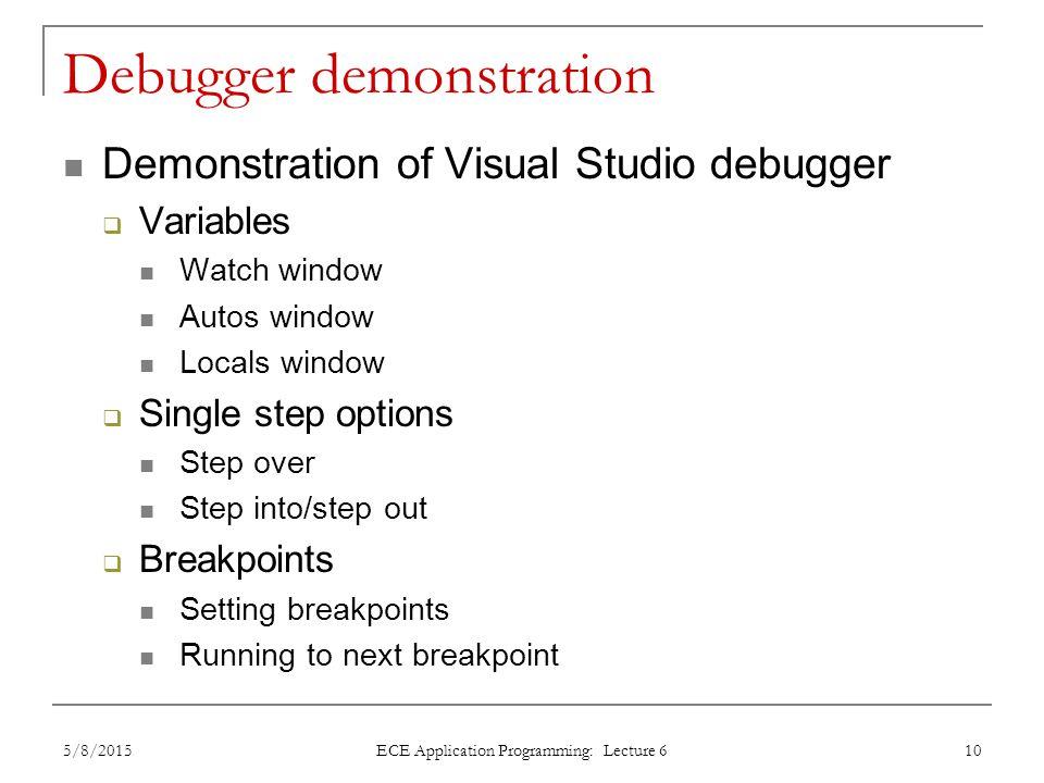 Debugger demonstration