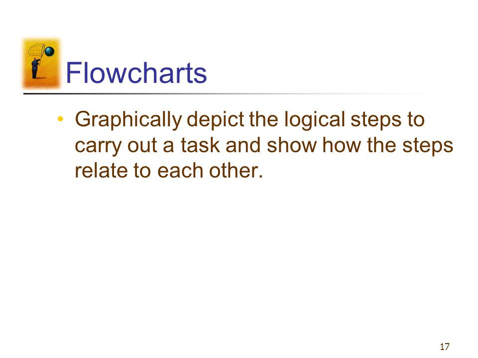 Flowcharts Graphically depict the logical steps to carry out a task and show how the steps relate to each other.