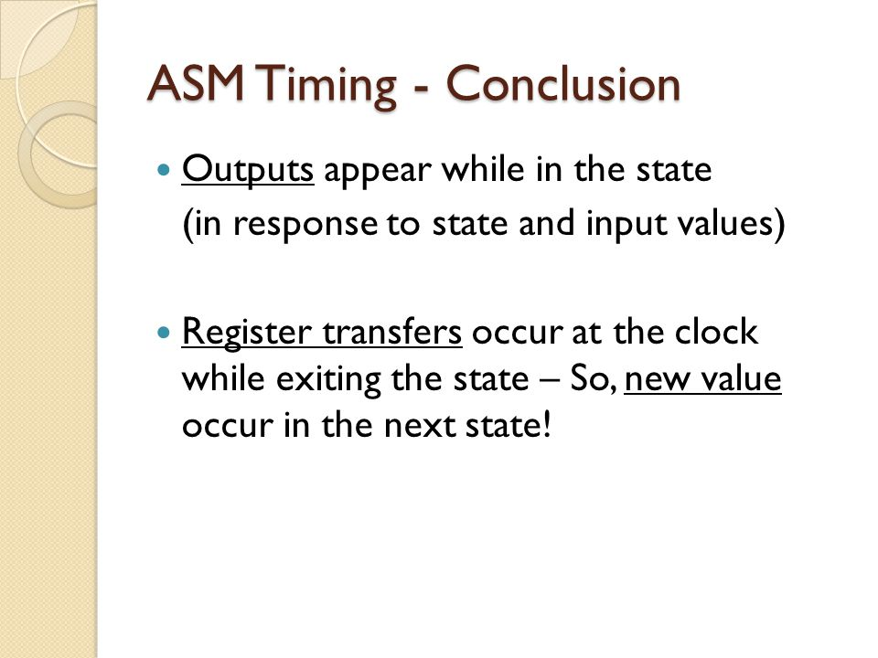 ASM Timing - Conclusion