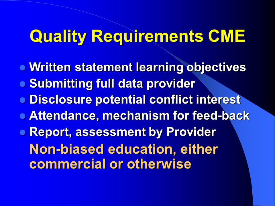 Quality Requirements CME