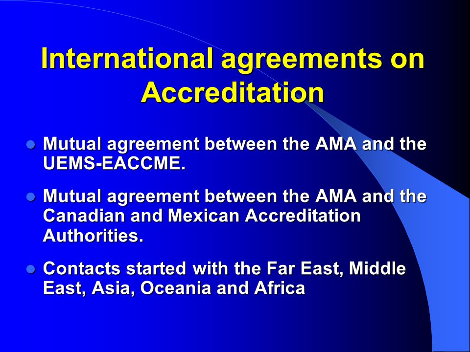 International agreements on Accreditation