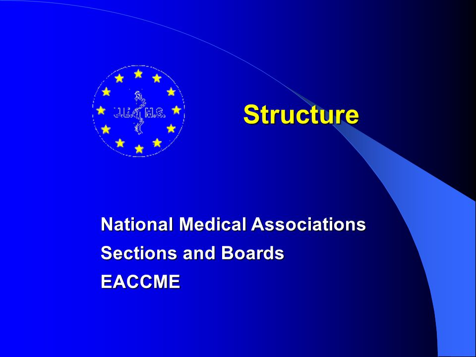 Structure National Medical Associations Sections and Boards EACCME