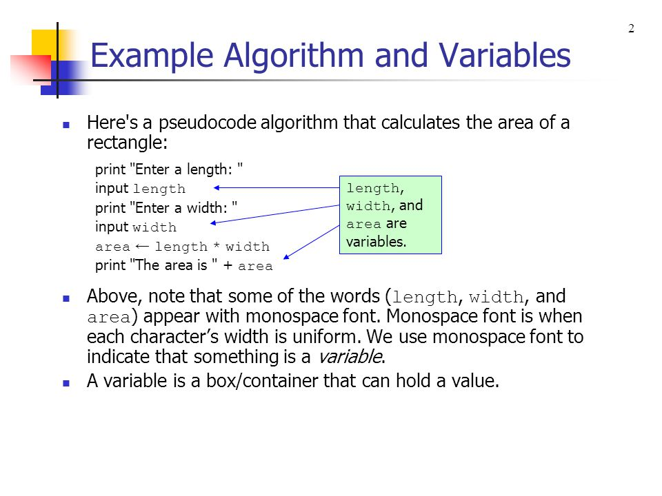 Example Algorithm and Variables