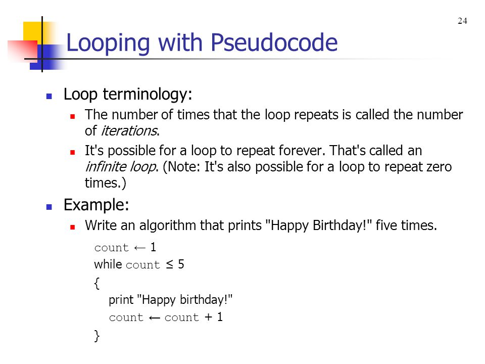 Looping with Pseudocode