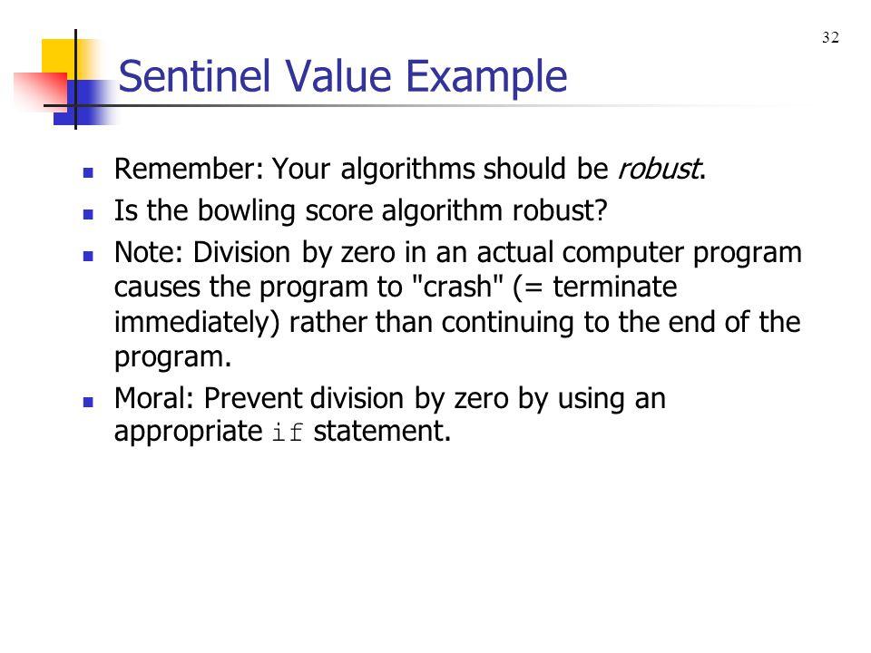 Sentinel Value Example