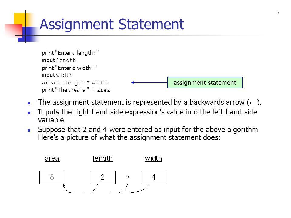 5 Assignment Statement. print Enter a length: input length. print Enter a width: input width.