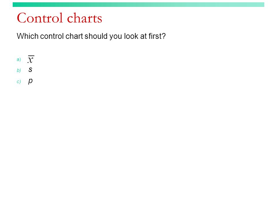 Control charts Which control chart should you look at first s p
