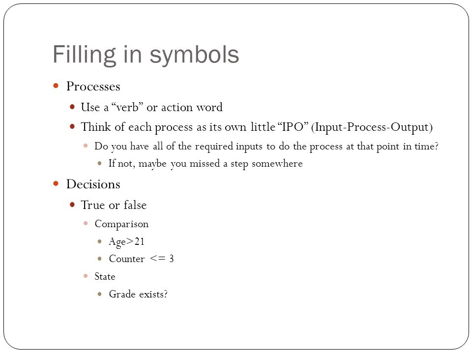 Filling in symbols Processes Decisions Use a verb or action word