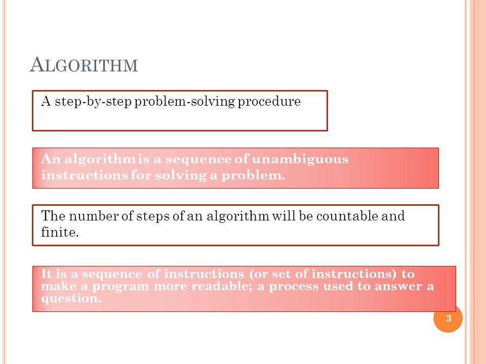 Algorithm A step-by-step problem-solving procedure