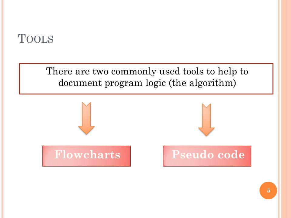 Tools Flowcharts Pseudo code